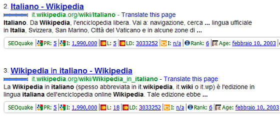Analisi concorrenza - SEO Quake